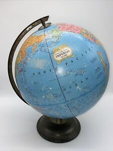 Vtg Mid Century Crams IMPERIAL World Globe Metal Base 12 in 38 Circumference