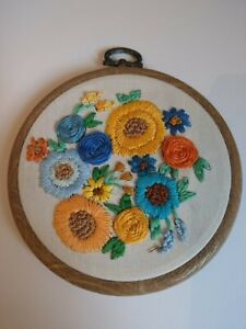 4 Inch Orange And Blue Floral Embroidery Wall Hanging Maximalist