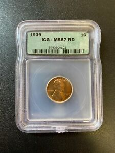 1939 WHEAT CENT ICG MS-67 RD - RED WHEAT PENNY UNCIRCULATED - CERTIFIED SLAB -1C