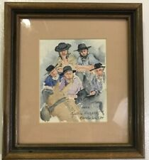 Cynthia Barber 1984 Water Color Matted & Framed Amish J9