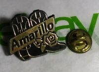 Vintage PLASTIC Amarillo Texas ROSE Cowboy BOOTS Travel Souvenir back Button Pin