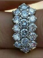 2.00Ct Round Cut Diamond Engagement & Wedding Cluster Ring 14K White Gold Over
