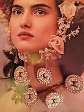 5x Kristall Knöpfe Chanel 2cm Jacke Mantel Kostüm Kleid Hose Logo Gold Perlmutt
