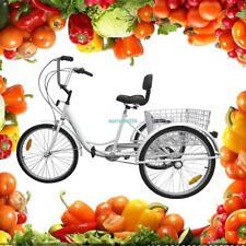 Version améliorée 24 pouces tricycle pour adultes, seniors shopping Bike Blanc