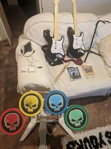 Wii Rock Band Bundle Set Drums, TWO Guitars, All Dongles, Mic, TWO games & more!