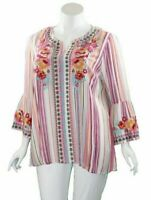 Andree By Unit Boho Rayon Woven Floral Striped Blouse Plus 1X