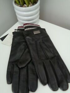BNWT TED BAKER Conver Black Leather Rib Cuff Smart Gloves - S/M