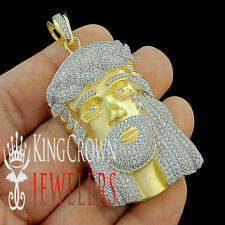 Yellow Gold Finish Real Silver Lab Diamond Jesus Face Piece Head Pendant Charm