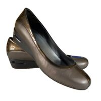 Cole Haan 9.5 B WomenWedge Pump Brown Leather Shoes Slip on Air Bubble N Sole