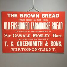 More details for 1920s advertising sign / showcard - bakery bread - greensmith & sons not enamel
