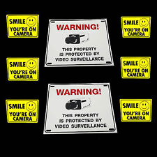 HOME SECURITY CAMERA ALARM SYSTEM WARNING YARD SIGNS+ADT'L SMILE DECAL STICKERS