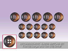 Set of Synthetic/Nylon Blazer Buttons 5 Large & 10 Small (Brown) HB36389