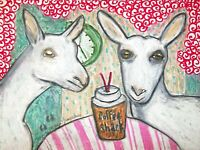 Saanen Drinking Espresso Farm Art Print 8 x 10 Signed by Artist KSams Dairy Goat