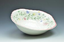 "Johnson Brothers Summer Chinz Floral Pink Trim Square Bowl 6"" Green Stamp"