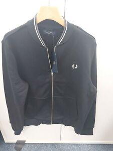 Fred Perry Zip Through Sweatshirt Size L BLACK