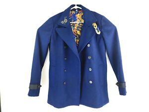 BBC Doctor Who Womens Navy Public Police Call Box Tardis Wool Blend Coat SZ S