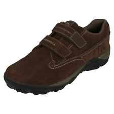 Boys Merrell Bracken Brown Suede Casual Rip Tape Shoes: Sight Strap J75281