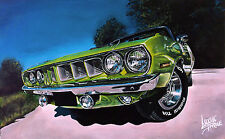 6 MUSCLE CARS   acrylic painting print POSTER package deal