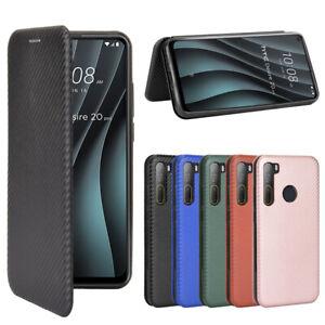 For HTC Desire 20+ / 20 plus / 20 pro Magnetic Carbon Fiber Leather Wallet Case