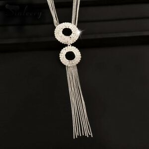 Double Circle Long Crystal Tassel Necklace - New in Gift Box