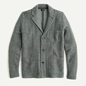 NWT J.Crew Twill Jacquard Wool-Blend Work Jacket Cardigan Sweater-Blazer - Sz M