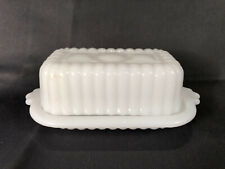 Vintage Half Stick 1/2 of Butter Dish & Lid Ribbed White Glass Hazel Atlas VGC