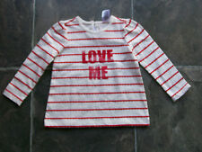 BNWT Baby Girl's Red & White Stripes Love Me Long Sleeve Cotton Top Size 0