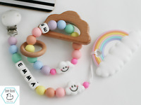 Personalised Pacifier Clip and Teether Rainbow Dummy Clip Teething Baby Gift