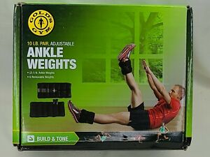 GOLDS GYM 10 lb. Pair Adjustable Ankle Weights Fitness Workout - NEW