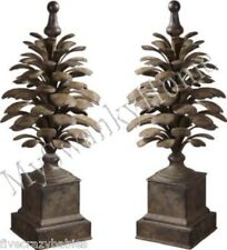 Elegant Large Outdoor Pine Cone Finial Pair Set 2pc Patio Sculpture Indoor Decor
