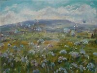 Forget-me-nots, Yorkshire Dales. Wensleydale.Oil on CANVAS.Impressionism,signed.