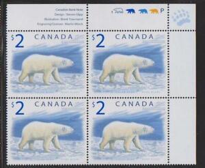 1998 Canada SC# 1690 UR - Wildlife Polar Bear - Plate Block M-NH Lot # 3422b