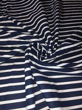 """1 Meter Navy Blue/White Striped 100%Pure Cotton Dress Fabric 45""""Wide Craft"""