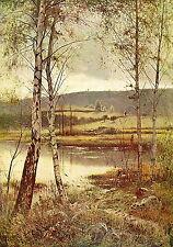 Antique ERNEST PARTON Old Vintage Art Print Scottish Loch Autumn WANING OF YEAR