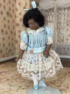 Vintage Miniature Dollhouse Doll Liz Staryk African American Black Girl Pretty