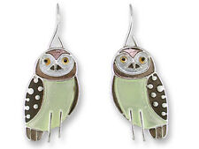 Zarah Zarlite OWL EARRINGS Sterling Silver Plated Dangle NEW Jewelry - Gift Box