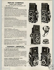 1958 PAPER AD Reflex Camera Rolleiflex Rollei New Model Minolta Yashica Twin Len