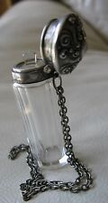 Antique Art Nouveau STERLING SILVER Chrystal Chatelaine Stopper Perfume Bottle
