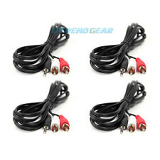 4X 5FT 3.5MM AUX RCA MALE PLUG AUDIO STEREO JACK BLACK CABLE IPHONE IPOD TOUCH