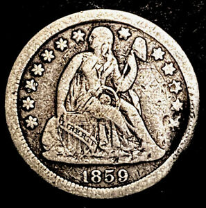 1859 Seated Liberty Silver Dime 10c Semi Key Date Obsolete Type Coin