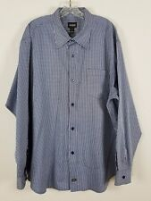 GUESS long sleeved button front blue and white checked career shirt XXL