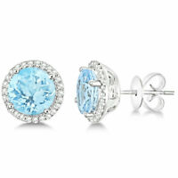 3.44 CTTW Halo Stud Earrings with Cubic Zirconia Elements Silver Halo Studs