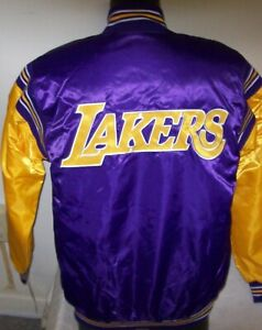 LOS ANGELES LAKERS Starter Throwback Snap Down Jacket YELLOW/PURPLE 3X 4X 5X