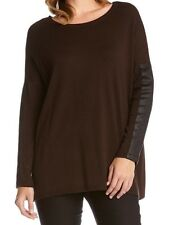 Karen Kane 3L89581 Brown w/Black Faux Leather SlV Pull-over Tunic Sweater $108