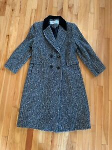 MACKINTOSH Women's Sz 10 Black & White Confetti Tweed Wool Blend Coat Jacket USA