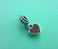 Genuino Pandora Pave rojo corazón colgante del encanto del 791023CZR S925 Ale