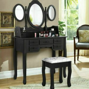 Dressing Table Stool Mirrors Jewellery Cabinet Tables 7 Drawers Organizer