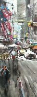 Landscape Painting Watercolor Original New York America Street Cityscape 16x6 in