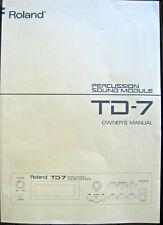 Roland TD-7 Midi Drum Module Original Owner's Manual User's Operating Book