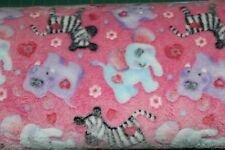 """~ Sherpa Fleece Fabric ~ Pink with muliti colored animals ~ 60"""" ~ BTY"""